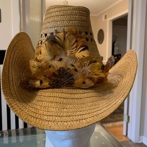 Unlimited Hatters Vintage Cowboy Hat With Feathers